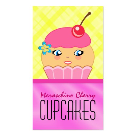 Cute Cup Cake Queen Cartoon Couture Cupcake Character With A Maraschino Cherry Bakery Business Cards