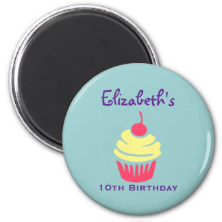 Pink and Yellow Cupcake Cherry On Top Birthday Magnet