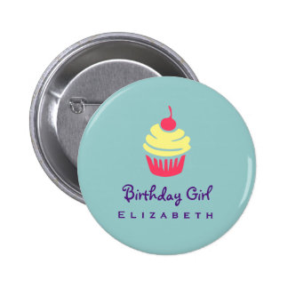 Pink and Yellow Cupcake Cherry On Top Birthday Pinback Button