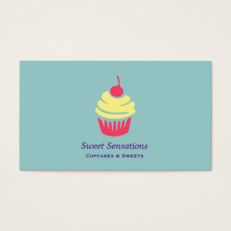 Pink and Yellow Cupcake with Cherry On Top Business Card