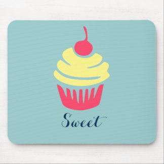 Pink and Yellow Cupcake with Cherry On Top Mouse Pad