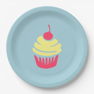 Pink and Yellow Cupcake with Cherry On Top Paper Plate