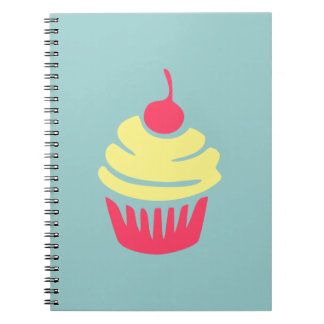 Pink and Yellow Cupcake with Cherry On Top Spiral Notebook