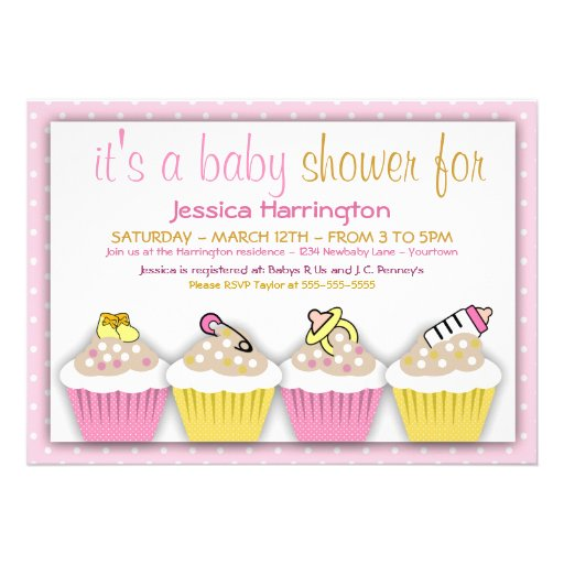 pink and yellow cupcakes baby shower invitations zazzle