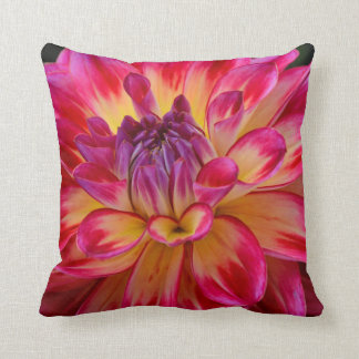 Pink and yellow dahlia flower throw pillow