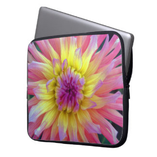 Pink and Yellow Dahlia Laptop Sleeve
