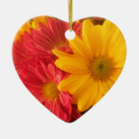 Pink and Yellow Daisies Double-Sided Heart Ceramic Christmas Ornament
