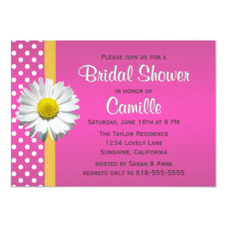 Pink and Yellow Daisy Bridal Shower Invitation