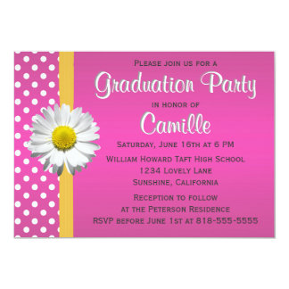 Pink and Yellow Daisy Graduation Party Card