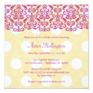 Pink and Yellow Damask Lace Bridal Shower BR001A 5.25x5.25 Square Paper Invitation Card