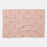 Pink and Yellow Damask Pattern Hand Towels
