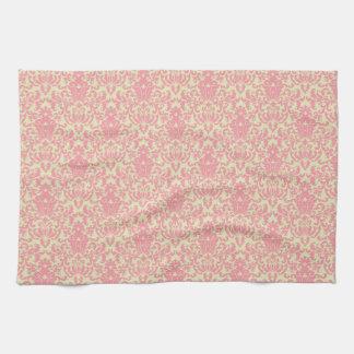 Pink and Yellow Damask Pattern Kitchen Towel