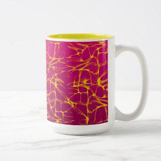 PINK AND YELLOW ELECTRIFIED Two-Tone COFFEE MUG