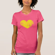 Pink and yellow faded worn vintage heart t shirt