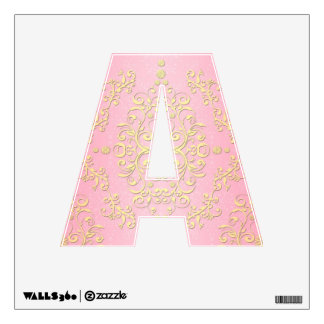 Pink and Yellow Floral Fancy Girly Damask Letter A Wall Sticker