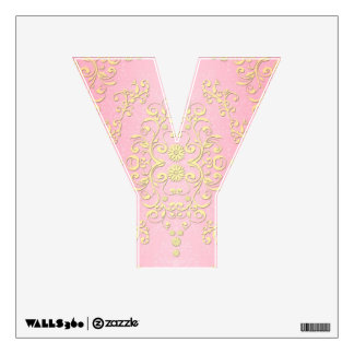 Pink and Yellow Floral Fancy Girly Damask Letter Y Wall Sticker