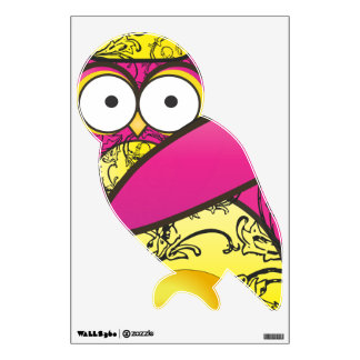 Pink and Yellow Floral Pattern Owl Bird Wall Decal