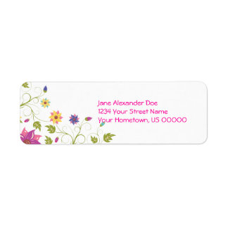Pink and Yellow Floral Return Address Label