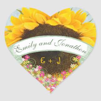 Pink and Yellow Floral Sunflower Wedding Seal
