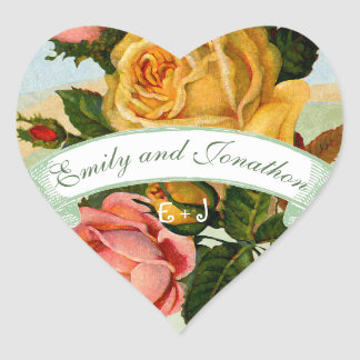 Pink and Yellow Floral Wedding Seal Heart Sticker