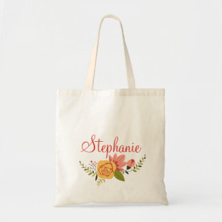 Pink and Yellow Floral Wreath with Beautiful  Name Tote Bag