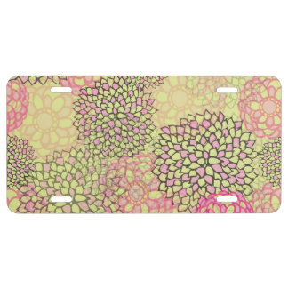 Pink and Yellow Flower Burst Design License Plate