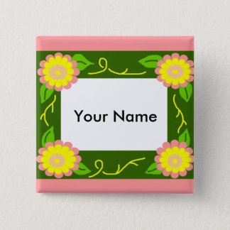 Pink and yellow flower frame, Your Name button