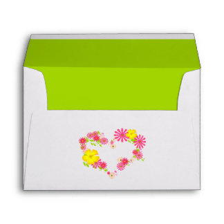 Pink and Yellow Flower Heart Envelopes
