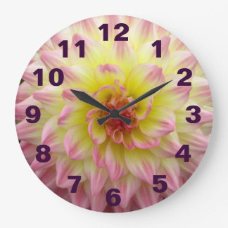 Pink And Yellow Flower Large Clock
