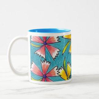 Pink and Yellow Flowered Hand Drawn Mug