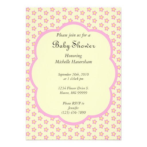 pink and yellow flowers baby shower invitation 5 x 7 invitation c