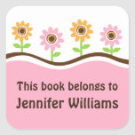 Pink and yellow flowers cute bookplate stickers