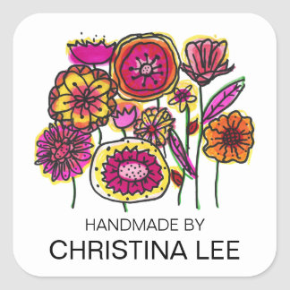 """Pink and Yellow Flowers, """"Handmade By"""" Labels Square Sticker"""