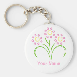 Pink and Yellow Flowers Keychain