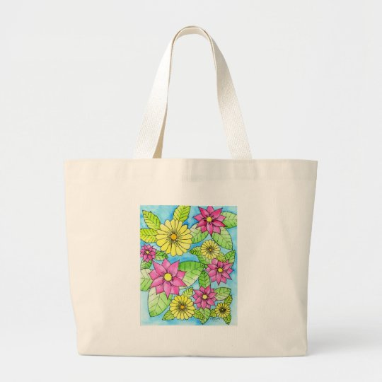 Pink and Yellow Flowers Large Tote Bag