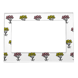 Pink and Yellow Flowers Magnetic Picture Frame