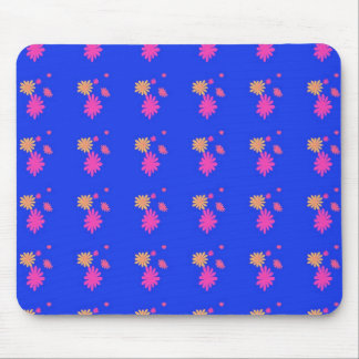 pink and yellow flowers on blue backgorund mouse pad