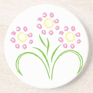 Pink and Yellow Flowers Sandstone Coaster