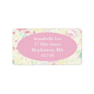 PInk and Yellow Foral Address Label