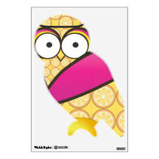 Pink and Yellow Fruit Pattern Owl Bird Wall Decal