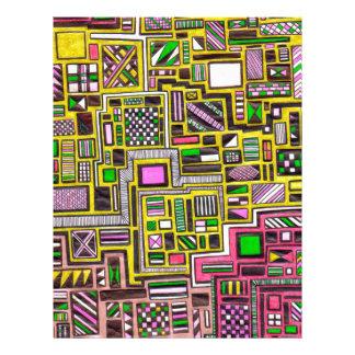Pink and Yellow Geometric shapes pop art punk Letterhead