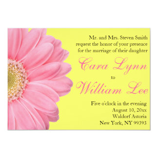 Pink and Yellow Gerber Daisy Wedding Invitations