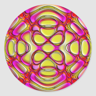 Pink and Yellow Glossy Gel Effect Abstract Classic Round Sticker