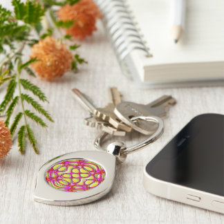 Pink and Yellow Glossy Gel Effect Abstract Silver-Colored Swirl Metal Keychain