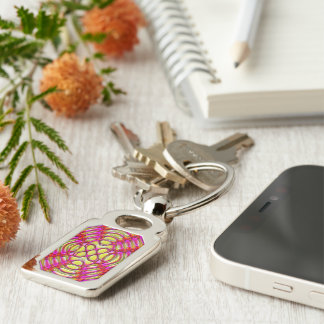 Pink and Yellow Glossy Gel Effect Abstract Silver-Colored Rectangular Metal Keychain