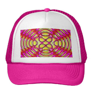 Pink and Yellow Glossy Gel Effect Abstract Trucker Hat
