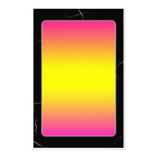 Pink and Yellow Gradient on Black Marble Stationery