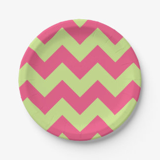 Pink and Yellow Green Modern Chevron 7 Inch Paper Plate