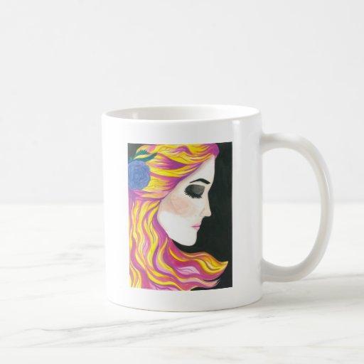 Pink and Yellow Hair Classic White Coffee Mug