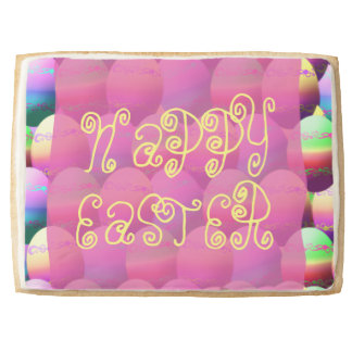Pink And Yellow Happy Easter Eggs Jumbo Shortbread Cookie